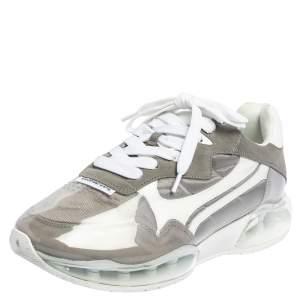 حذاء رياضي ألكساندر وانغ  ستاديم جلد وسويدي وبي في سي أبيض / رصاصي بعنق منخفض مقاس 38.5