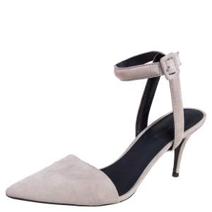 Alexander Wang Grey Suede Leather Lovisa Ankle Wrap Sandals Size 39