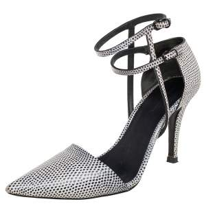 Alexander Wang Black/White Lizard Embossed Leather D'Orsay Pumps Size 40