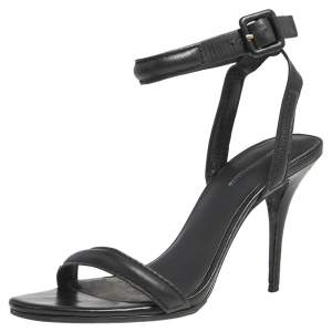 Alexander Wang Black Leather Antonia Ankle Wrap Sandals Size 37