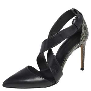 Alexander Wang Black /Green Python Embossed And Leather Lovisa Pointed Toe Ankle Sandals Size 37.5