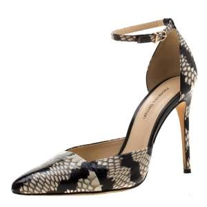 Alexandre Birman Two Tone Python Embossed Leather Ankle Strap Sandals Size 37.5