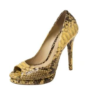 Alexander Birman Yellow/Black Python Peep Toe Pumps Size 40.5