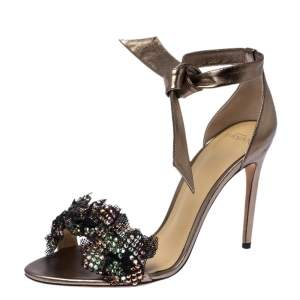 Alexander Birman Bronze Patent Leather and Mesh Clarita Show Embellished Ankle Tie Sandals Size 40.5