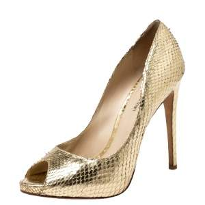Alexandre Birman Metallic Gold Python Leather Peep Toe Pumps Size 38