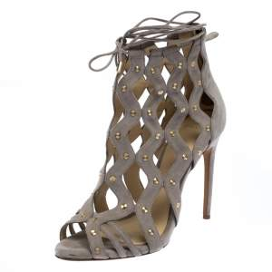 Alexandre Birman Grey Suede Leather Loreta Cage Ankle Wrap Sandals Size 39.5