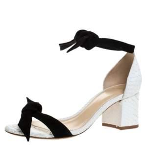 Alexandre Birman Black/White Python And Suede Clarita Block Heel Sandals Size 36