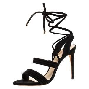 Alexandre Birman Black Suede Leather Strappy Sandals Size 41