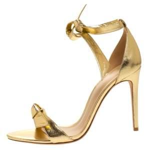 Alexandre Birman Metallic Gold Leather Clarita Ankle Wrap Sandals Size 40