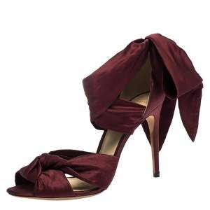 Alexandre Birman Burgundy Satin Katherine Ankle Wrap Sandals Size 41