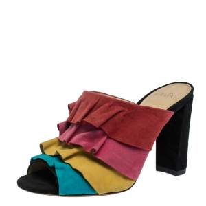 Alexandre Birman Multicolor Suede Ruffled Sandals Size 35