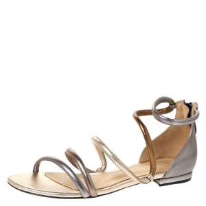 Alexandre Birman Metallic Silver/Gold Gianny Strappy Flat Metallic Leather Sandals 36