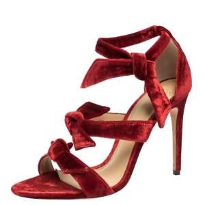 Alexandre Birman Red Velvet Gianna Three Bow Ankle Wrap Sandals Size 38