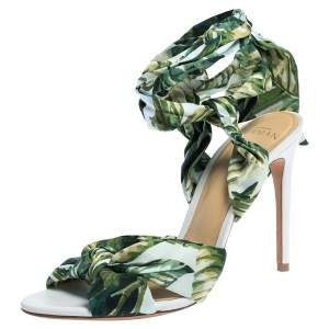 Alexandre Birman Multicolor Leaf Print Fabric Kacey Knot Detail Ankle Wrap Sandals Size 38