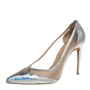 Alexandre Birman Metallic Silver Python And Mesh Pointed Toe Pumps Size 41