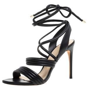 Alexandre Birman Black Leather 'Aurora' Strappy Ankle Wrap Sandals Size 38