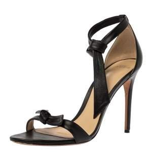 Alexandre Birman Black Leather Clarita Bow Ankle Wrap Sandals Size 41
