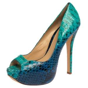 Alexandre Birman Two Tone Blue Python Peep Toe Platform Pumps Size 40.5