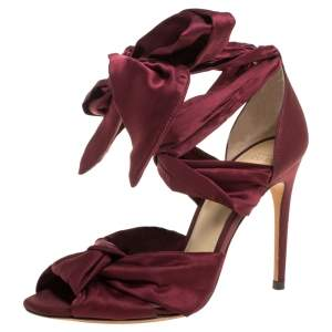 Alexandre Birman Burgundy Satin Katherine Ankle Wrap Sandals Size 36
