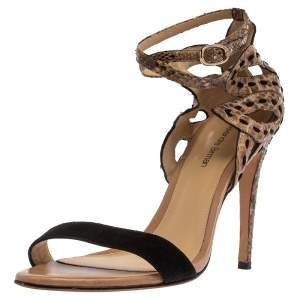 Alexandre Birman Brown Python And Black Suede Leather Ankle Strap Sandals Size 37.5