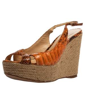 Alexandre Birman Orange Python Leather Wedge Slingback Sandals Size 39.5