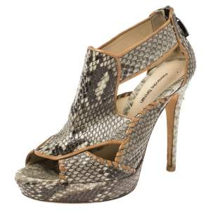 Alexandre Birman Grey Python Platform Platform Sandals Size 39.5