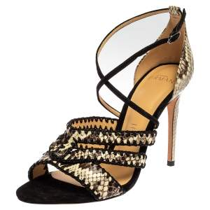 Alexandre Birman Tri Color Snakeskin Embossed Leather Strappy Sandals Size 37.5