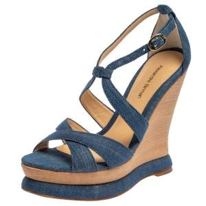 Alexandre Birman Blue Denim Fabric Wedge Sandals Size 37.5