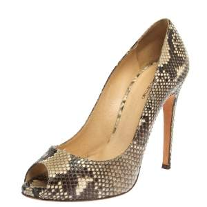 Alexander Birman Yellow/Black Python Peep Toe Pumps Size 38.5