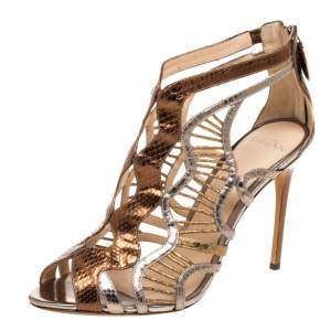 Alexandre Birman Multicolor Python Embossed Leather Caged Zipper Sandals Size 40
