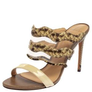 Alexandre Birman Cream/Brown Python, PVC And Leather Sandals Size 38