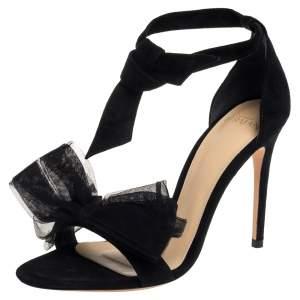 Alexandre Birman Black Suede Clarita Tulle Sandals Size 36