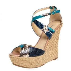 Alexandre Birman Multicolor Python Wedge Platform Ankle Strap Sandals Size 38