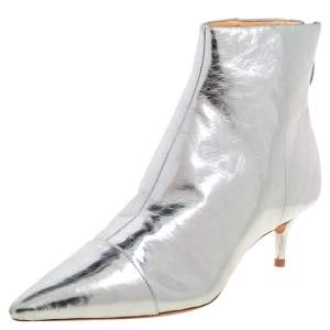 Alexandre Birman Silver Leather Kittie Ankle Boots Size 39