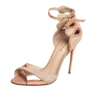 Alexandre Birman Beige/Gold Python Embossed Leather And Suede Ankle Strap Sandals Size 39