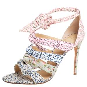 Alexandre Birman Multicolor Floral Printed Canvas Lolita Knot Strappy Sandals Size 41