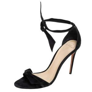 Alexandre Birman Black Suede Clarita Ankle Wrap Sandals Size 39