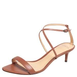 Alexandre Birman Brown Leather Ankle Strap Sandals Size 38.5