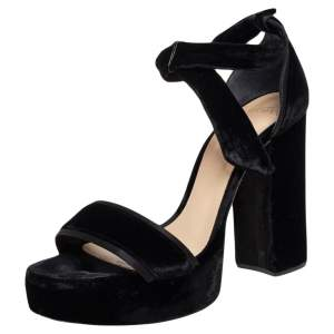 Alexandre Birman Black Velvet Celine Platform Ankle Tie Sandals Size 40