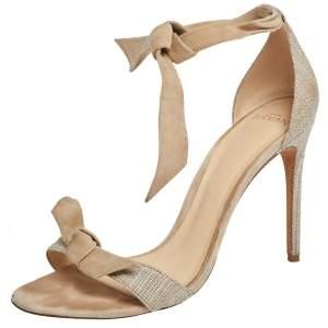 Alexandre Birman Beige Suede and Canvas Clarita Ankle Wrap Sandals Size 39.5