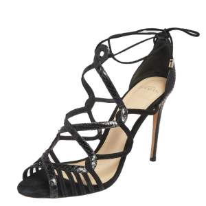 Alexandre Birman Black Suede And Python Leather Strappy Sandals Size 39