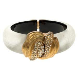 Alexis Bittar Crystal Studded Plexiglas Gold Tone Hinge Bracelet 17cm