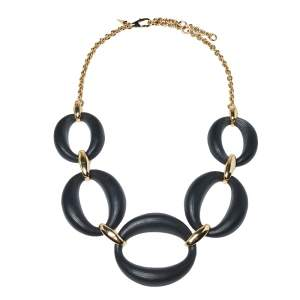 Alexix Bittar Lucite Gold Tone Large Link Necklace