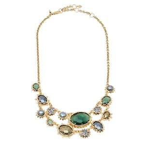 Alexis Bittar Georgian Multicolor Stone Gold Tone Double Strand Necklace