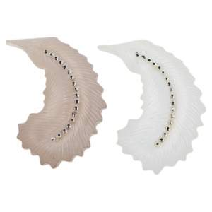 Alexis Bittar White/Grey Lucite Feather Crystal Brooch Set of Two