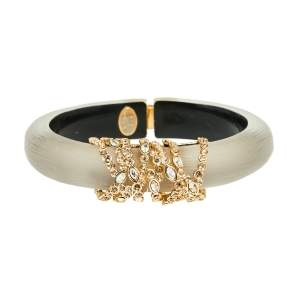 Alexis Bittar Grey Lucite Crystal Detail Cuff Bracelet