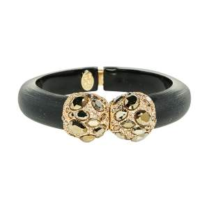 Alexis Bittar Black Lucite Crystal Detail Cuff Bracelet
