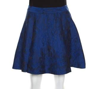 Alice + Olivia Cobalt Blue Floral Patterned Brocade Vernon Skater Skirt S