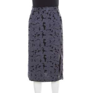 Alice + Olivia Indigo Floral Denim Applique Midi Skirt XS