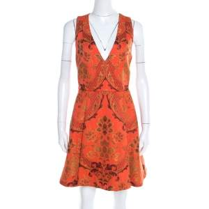 Alice + Olivia Orange Brocade Racer Back Fit and Flare Mollie Dress M